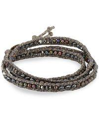 Chan Luu - Semi-precious Crystal Freshwater Pearl Sterling Silver Wrap Bracelet - Lyst