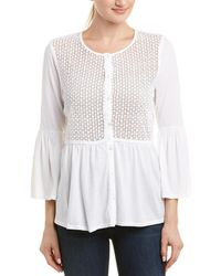 Three Dots Trellis Lace Cardigan - White