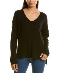 RAFFI Oversize Ribbed Cashmere V-neck Sweater - Black