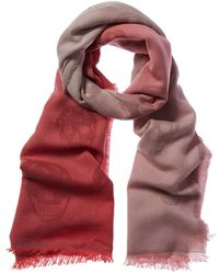 Alexander McQueen Skull Ombre Wool Scarf - Pink