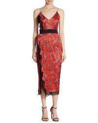 Cinq À Sept Petra Silk Midi Dress - Red