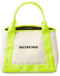 Balenciaga Navy Cabas Small Canvas & Leather Tote - Yellow