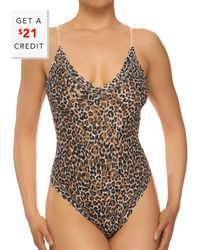 Hanky Panky Classic Leopard V Bodysuit With $21 Credit - Brown
