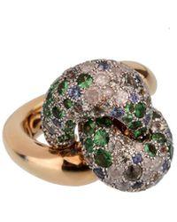 Pomellato 18k 17.0 Grams Rose Gold 1.90 Ct. Tw. Diamond & Sapphire Cocktail Ring - Metallic