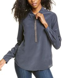 Go> By Go Silk Go By Go>silk Metallurgy Silk Blouse - Blue