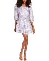 LoveShackFancy Pearla Silk Mini Dress - Blue
