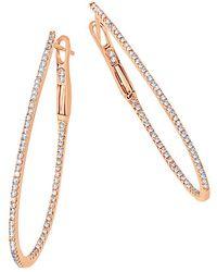 Sabrina Designs 14k Rose Gold 0.57 Ct. Tw. Diamond Hoops - Metallic