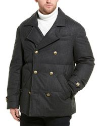 Brunello Cucinelli Quilted Wool-blend Coat - Gray