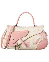 Dior Limited Edition White Floral Printed Canvas Top Handle Saddle Bag - Pink