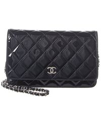 Chanel Navy Quilted Patent Leather Wallet On Chain - Blue