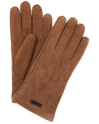 Burberry Shearling Lined Suede Gloves - Brown