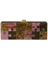 Edie Parker Flavia Puzzled Acrylic Clutch - Green