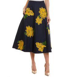 Michael Kors Wool & Silk-blend A-line Skirt - Blue