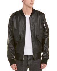 Vince Leather & Wool-blend Bomber Jacket - Black
