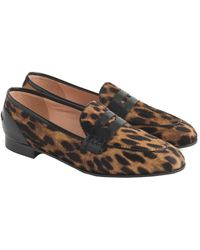 J.Crew Academy Penny Loafers In Leopard Calf Hair - Brown