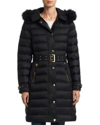 Burberry - Fur Trim Down-filled Puffer Coat - Lyst