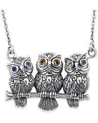 Samuel B. Jewelry Sterling Silver & 18k 0.30 Ct. Gemstone Owl On Branch Necklace - Metallic