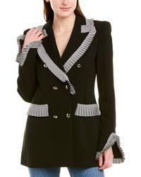 Valentina Shah Jessica Pleated Blazer - Black