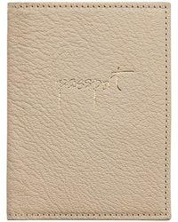 Graphic Image Leather Passport Case - White