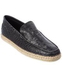 Tod's Tod?s Croc-embossed Leather Espadrille - Black