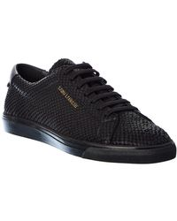 Saint Laurent - Andy Python-embossed Leather Sneaker - Lyst