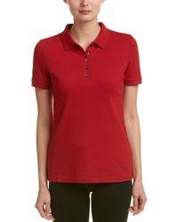 Burberry Check Trim Stretch Cotton Pique Polo Shirt - Red