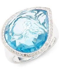 Effy - Diamond, Topaz & 14k White Gold Solid Fill Solitaire Ring - Lyst