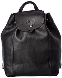 Longchamp Le Pliage Cuir Leather Backpack - Black