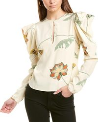 Johanna Ortiz Floral Silk Blouse - White