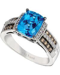 Le Vian 14k 2.29 Ct. Tw. Diamond & Signity Blue Topaz Ring