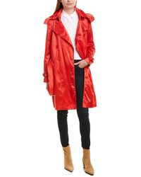 Burberry Kensington Hooded Nylon Trench Coat - Red