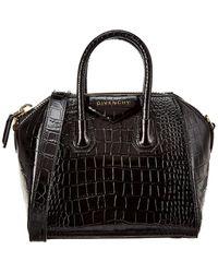 Givenchy Antigona Mini Croc-embossed Leather Tote - Black