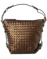 Bottega Veneta Vesuvio Mini Intrecciato Nappa Leather Tote - Brown