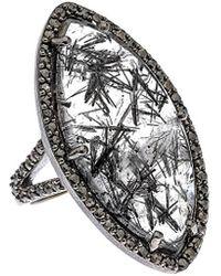 Bavna Silver 16.23 Ct. Tw. Diamond & Black Rutilated Quartz Ring - Multicolour