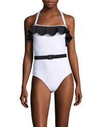 Mouillé Swim - Bandeau Flounce One Piece Swimsuit - Lyst