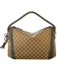 65a6271152b Gucci - Brown GG Canvas   Grey Leather Bella Hobo Bag - Lyst