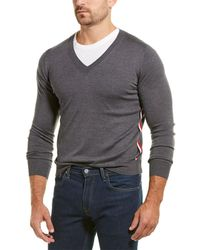 Moncler Tricot Wool V-neck Sweater - Gray
