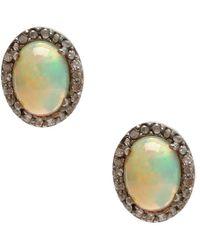 Adornia - Fine Jewellery Silver 4.65 Ct. Tw. Diamond Opal Studs - Lyst