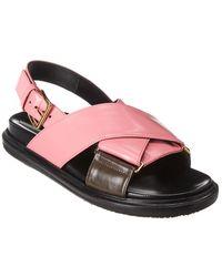 Marni Fussbett Leather Sandal - Pink