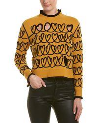 Fendi Pullover Wool-blend Heart Sweater - Yellow