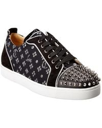 Christian Louboutin Louis Junior Spikes Leather & Suede Sneaker - Black