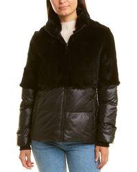 Adrienne Landau Quilted Down Coat - Black