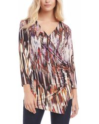 Karen Kane 3/4-sleeve Wrap Top - Multicolour