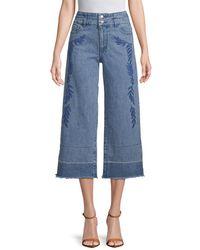 Rebecca Minkoff Llc Starlight Wide-leg Embroidered Pant - Blue