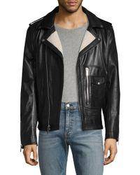 Karl Lagerfeld Karl Asymmetrical Leather Moto Jacket - Black