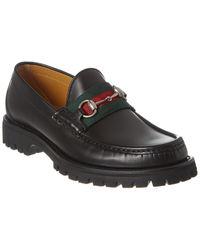 Gucci Web Horsebit Leather Loafer - Black