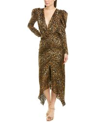Ronny Kobo Leopard - Print Puff - Sleeve Dress - Brown