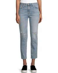 AG Jeans - Isabelle Distressed Straight Cropped Jeans - Lyst