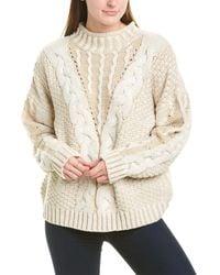MOON RIVER Womens Chunky Drop Sleeve Sweater