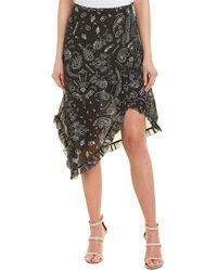 IRO Asymmetric Midi Skirt - Black